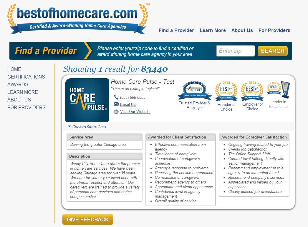Best of Home Care Search Feature