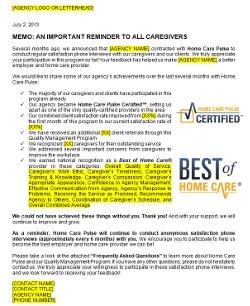 Home Care Pulse Inform Letter