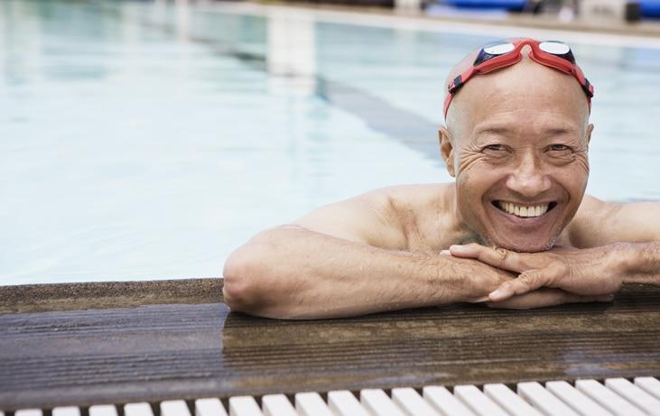elderly man in swimming pool