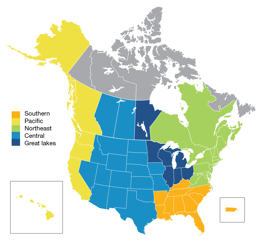 Geographic Regions for Best of Home Care Awards