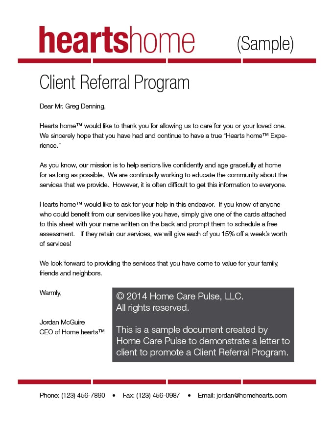 client referral program letter sample template home care pulse