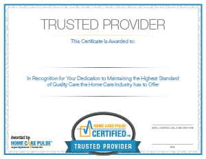 Home Care Pulse Certified Trusted Provider Certificate