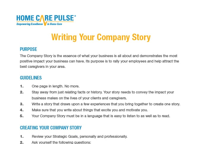 Writing company story
