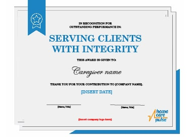 Caregiver Recognition Certificate