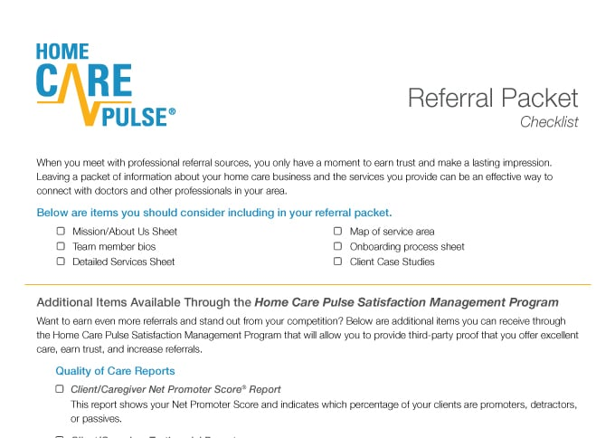 Referral Source Checklist