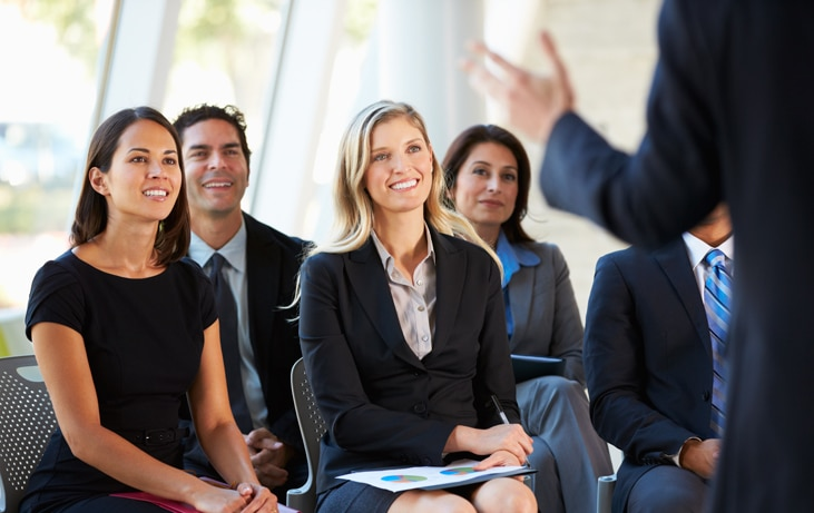 employees in a training meeting