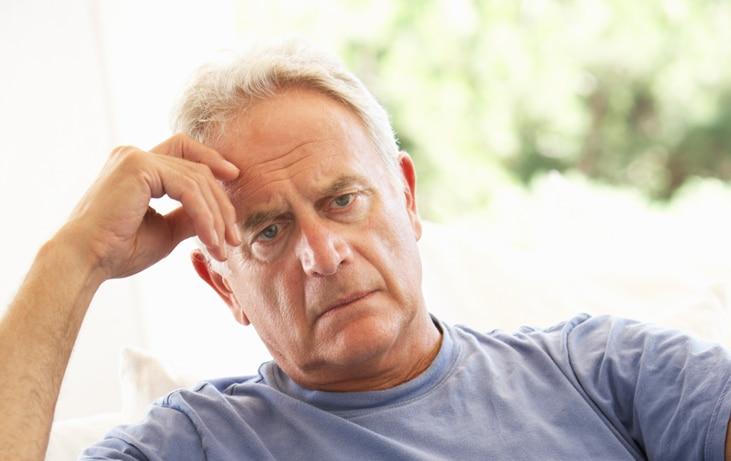 frustrated elderly man