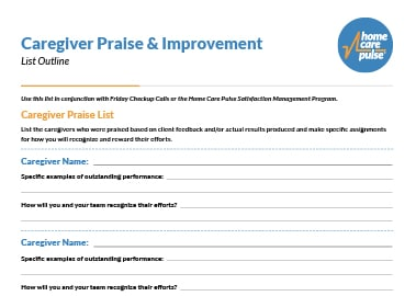 Caregiver Praise list preview