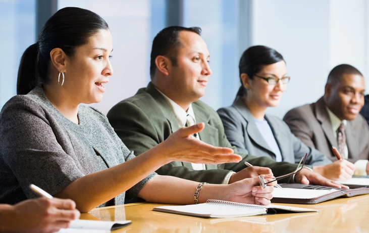 staff in a meeting