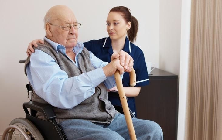caregiver with upset man