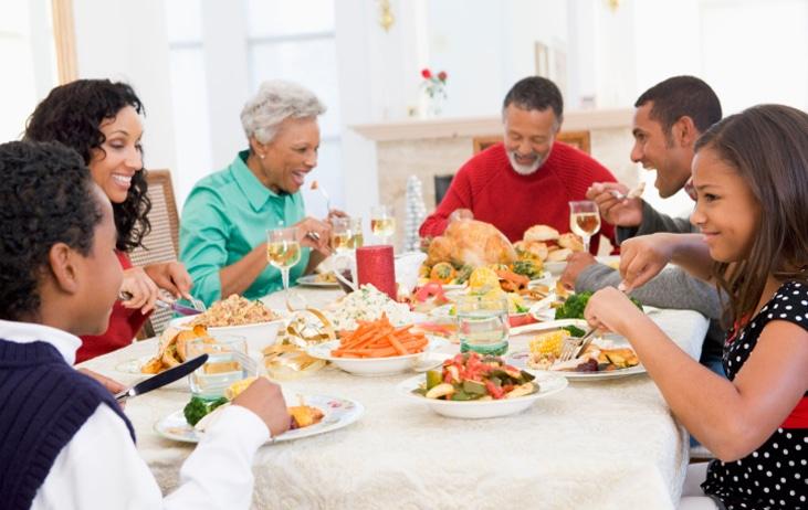 Family eating Thanksgiving dinner