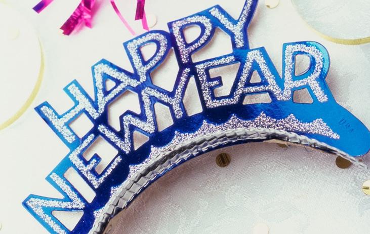 Happy New Year headband, streamers, and confetti