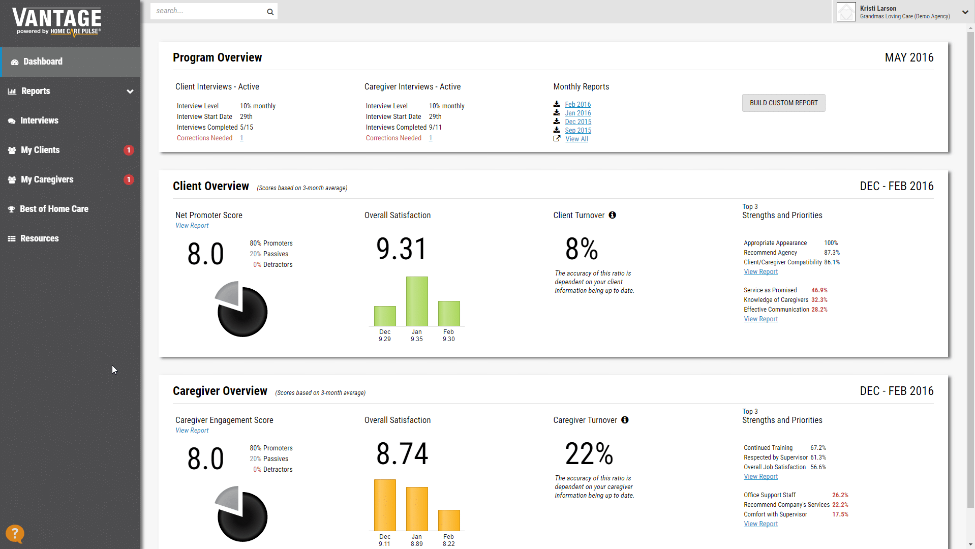 updated VANTAGE home page