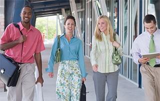 employees walking outside