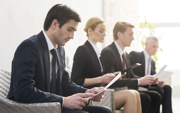 job candidates waiting for an interview