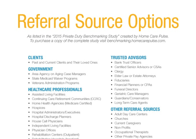 Home Care Referral Source Options List