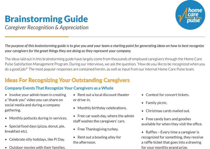 Caregiver Appreciation Brainstorming Sheet
