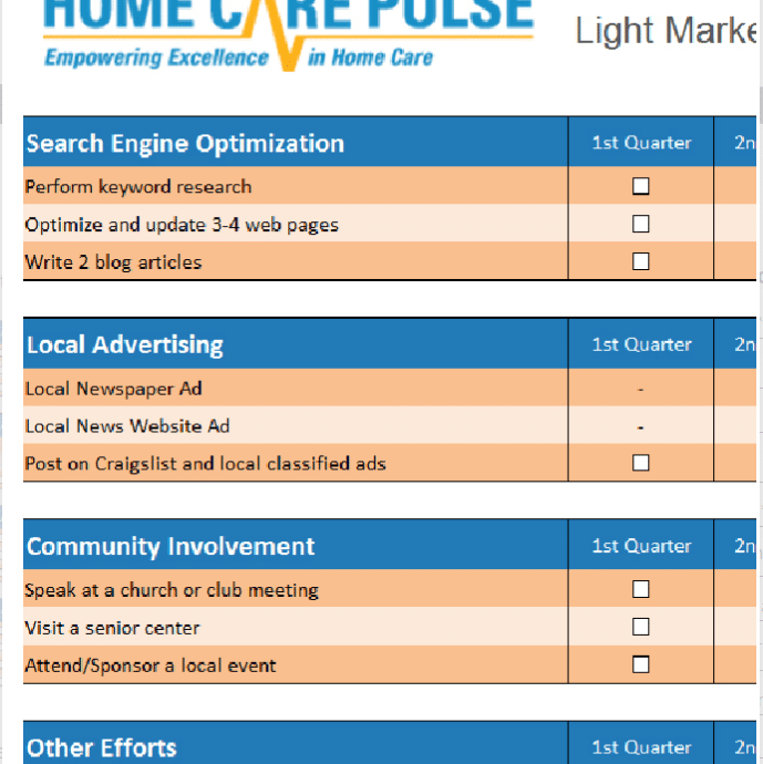 Home Care Marketing Checklist