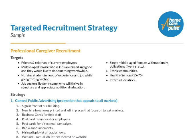 Sample Caregiver Hiring Strategy
