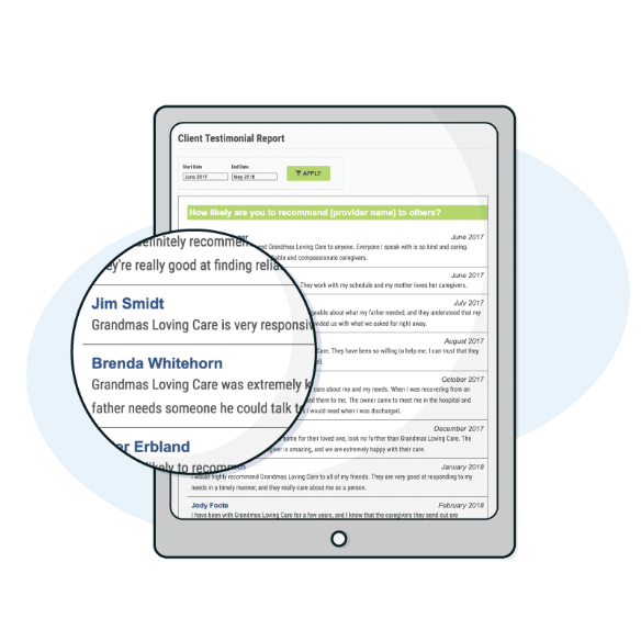 Home Care Testimonial Report
