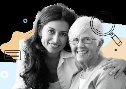 caregiver and client find blind spots mobile
