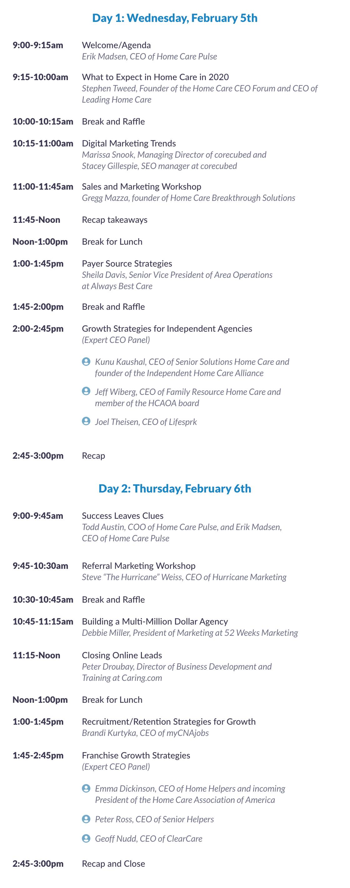 2020 Growth Summit Schedule