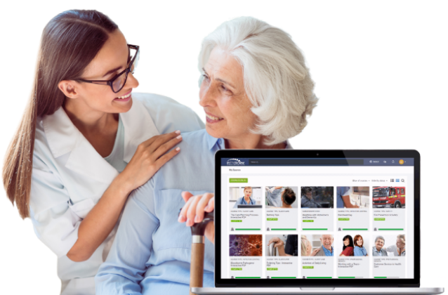 Client and caregiver and E-learning platform