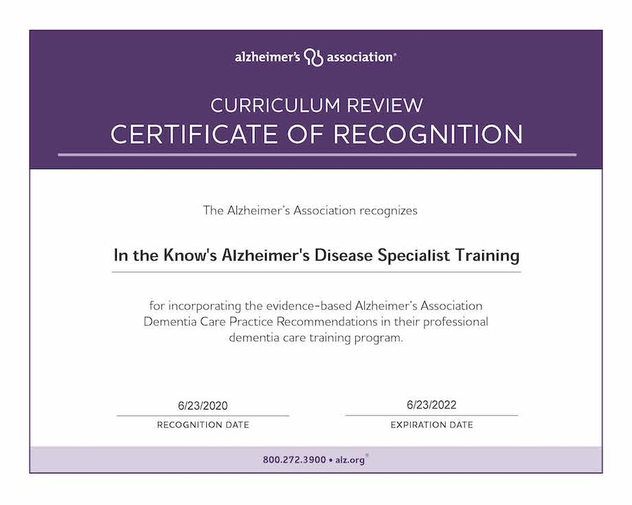 Curriculum Review Certificate In the Know