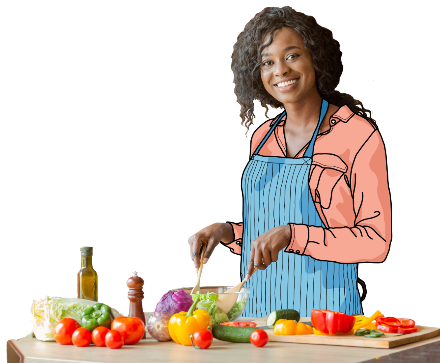 Illustration banner caregiver in kitchen cutout