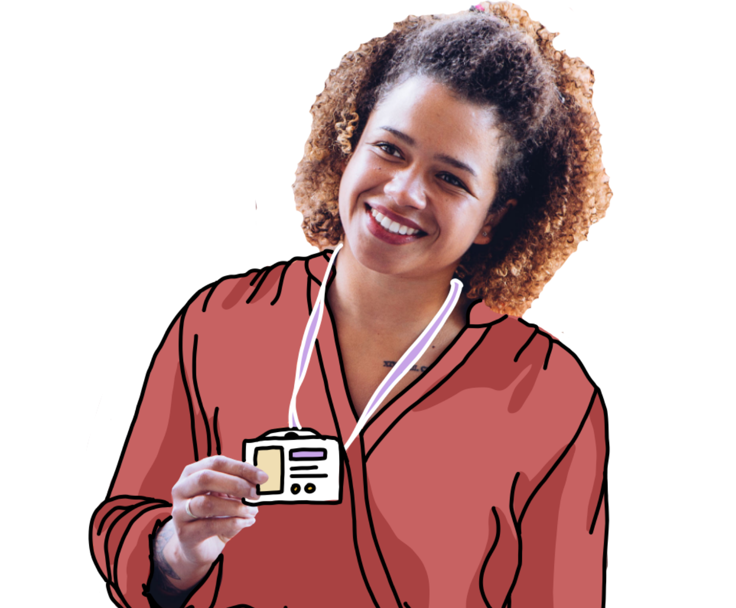 Illustration caregiver at door with badge cutout