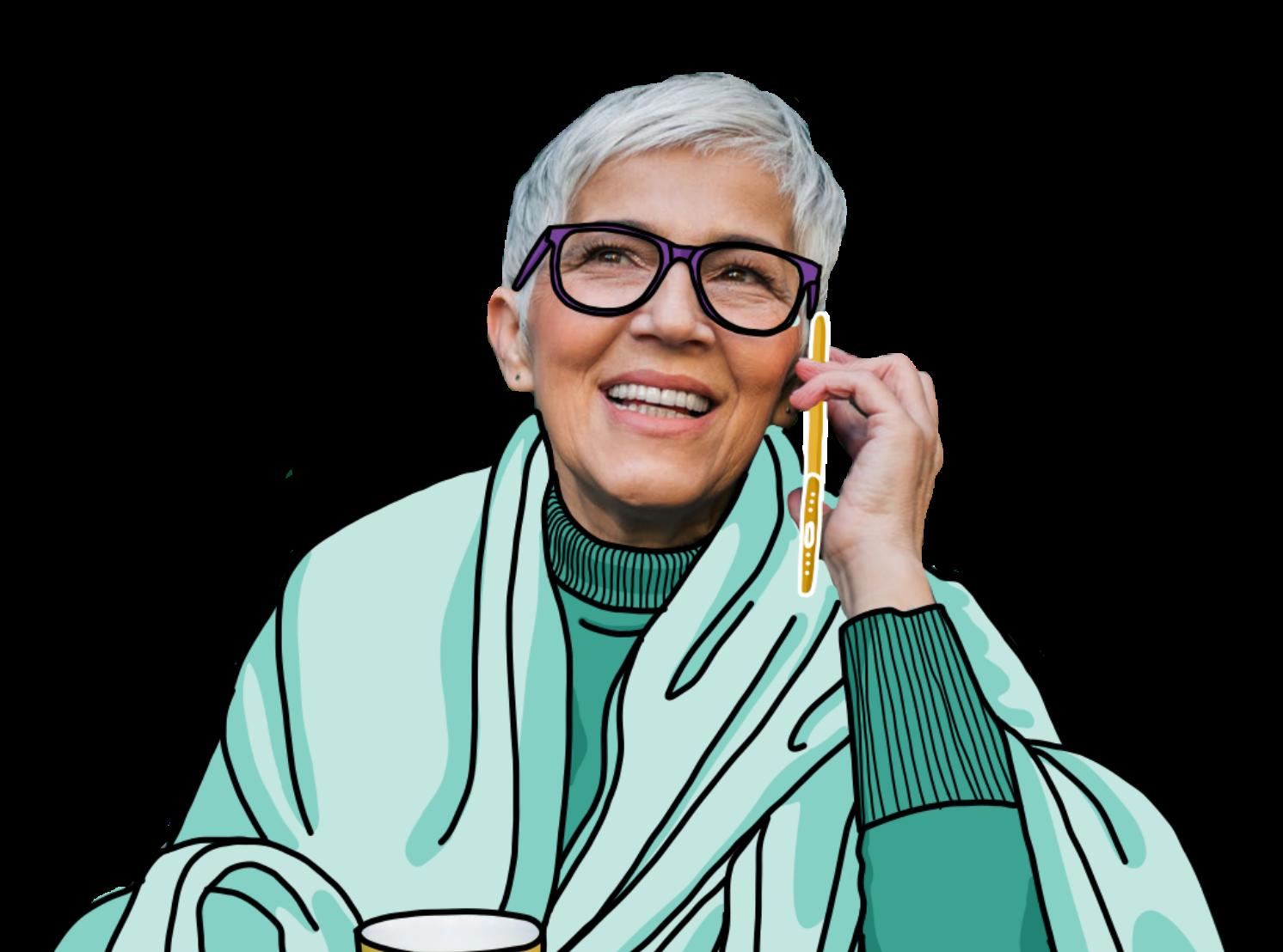 Illustration elderly woman in garden talking on phone