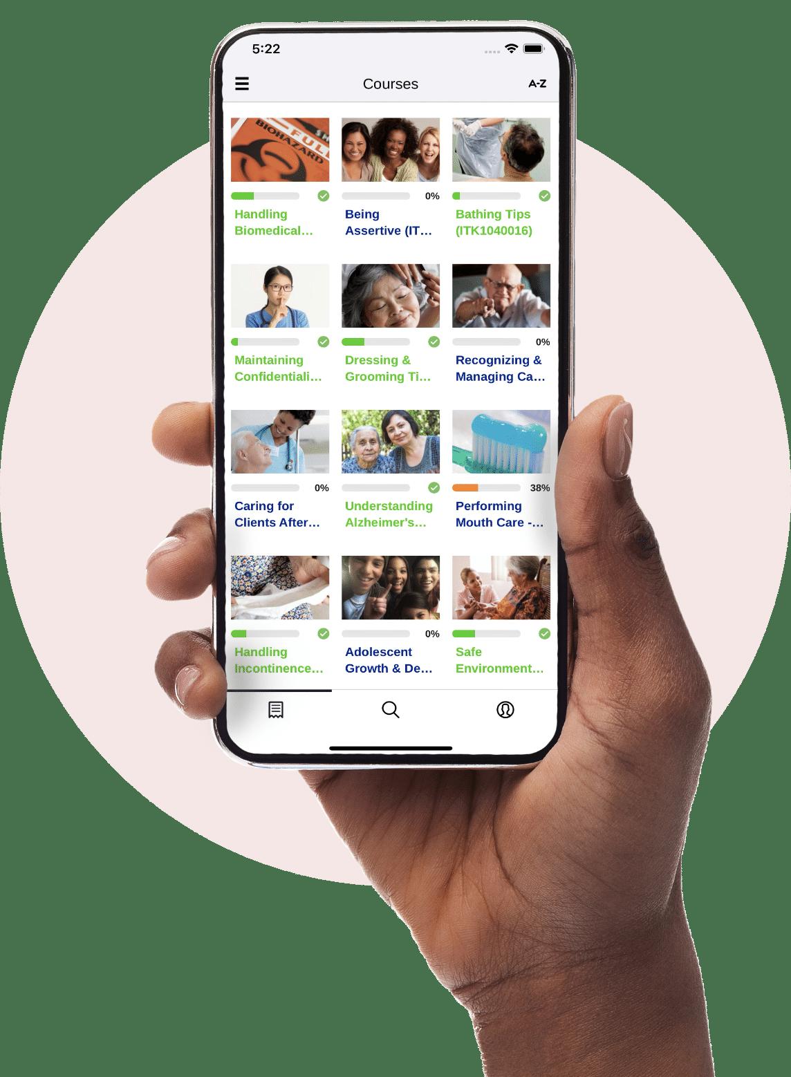 Mobile online caregiver training app