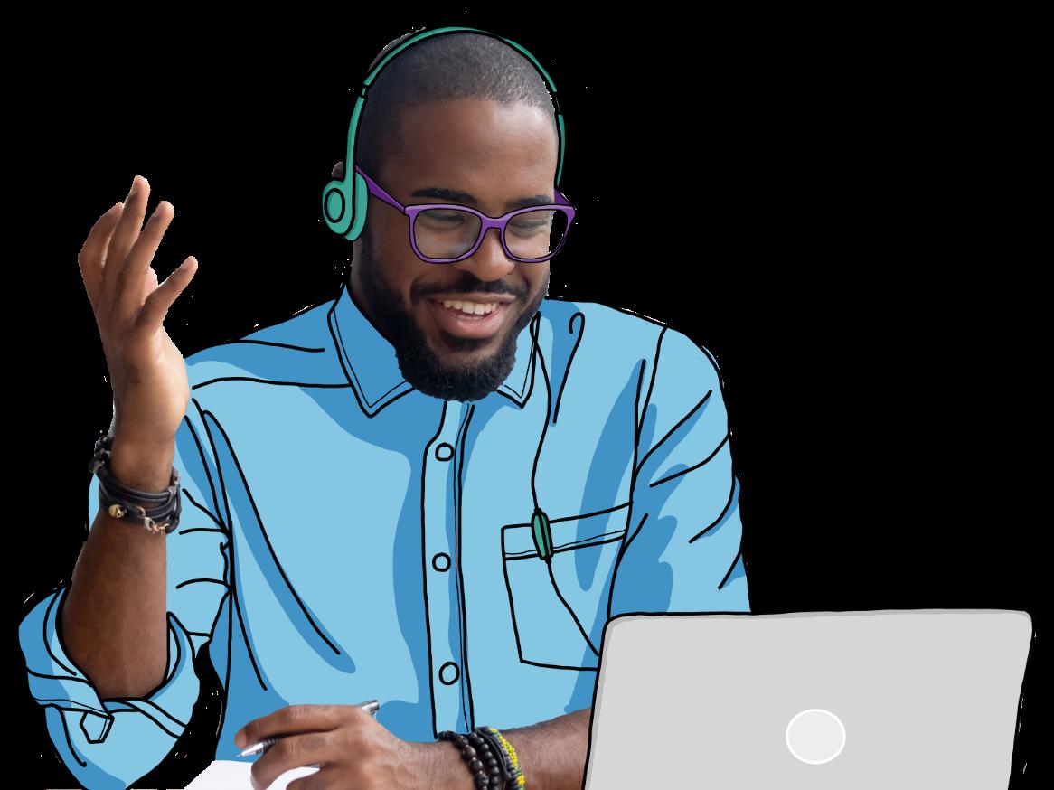 Man smiling and gesturing at computer